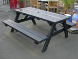 Pine Rectangular Garden Picnic Table (Black Ash)
