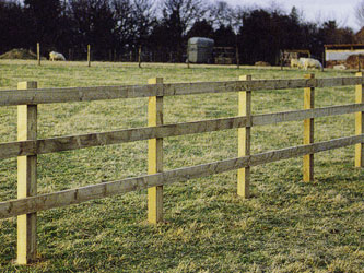 Square Nailed Post & Rail Commercial Fence