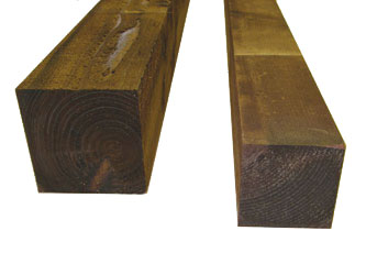 Brown Treated Timber Garden Fence Posts
