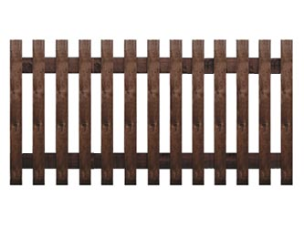 Brown Treated Flat Palisade Picket Garden Fence
