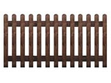 Brown Treated Rounded Palisade Picket Garden Fence