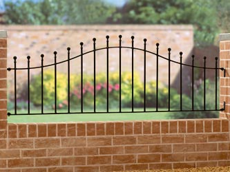 Manor Shaped Wrought Iron Garden Railings