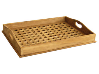 Cross Slat Teak Serving Tray