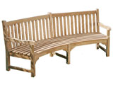 Connaught Teak 2.27m Curved Garden Benches