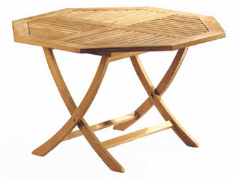 Suffolk Teak 1.2m Octagonal Folding Garden Tables