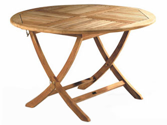 Suffolk Teak 1.2m Round Folding Garden Tables