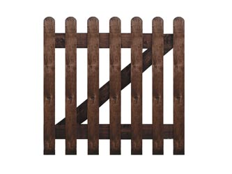 Brown Treated Rounded Palisade Picket Garden Gates