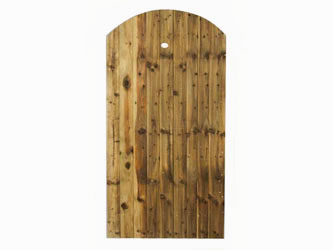 Brown Treated Super Featheredge Round Top Side Garden Gates