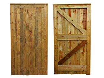 Brown Treated Traditional Closeboarded Capped Full Frame Ledged & Braced Side Garden Gates