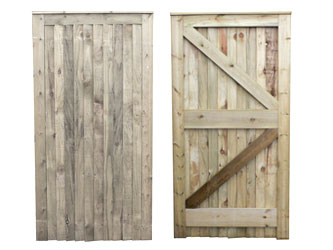 Natural Treated Traditional Closeboard Capped Full Frame Ledged & Braced Side Garden Gates