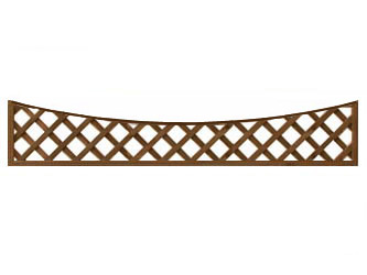 Brown Treated Long Concave Heavy Duty Diamond 4in Garden Trellis Panels