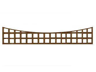 Brown Treated Long Concave Heavy Duty Standard 4in Garden Trellis Panels