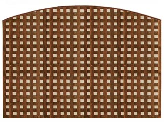 Brown Treated Convex Heavy Duty Chelsea 1 1/4in Garden Trellis Panels