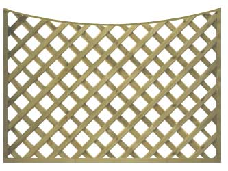 Natural Treated Concave Heavy Duty Diamond 4in Garden Trellis Panels