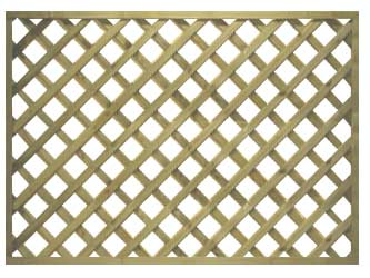 Natural Treated Straight Heavy Duty Diamond 4in Garden Trellis Panels