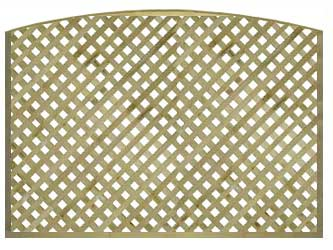 Natural Treated Convex Heavy Duty Diamond 1 1/4in Garden Trellis Panels