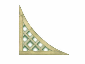450mm x 450mm Natural Treated Corner Standard Diamond Garden Trellis Panels