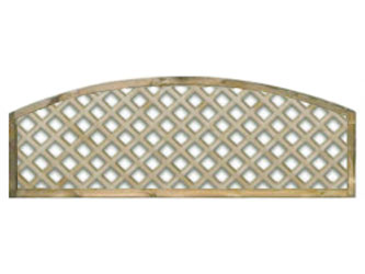 470mm x 1828mm Natural Treated Convex Standard Diamond Garden Trellis Panels