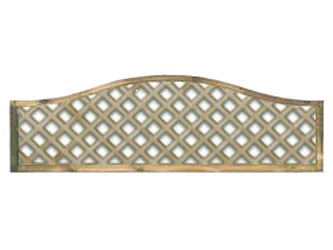 470mm x 1828mm Natural Treated Wave Standard Diamond Garden Trellis Panels